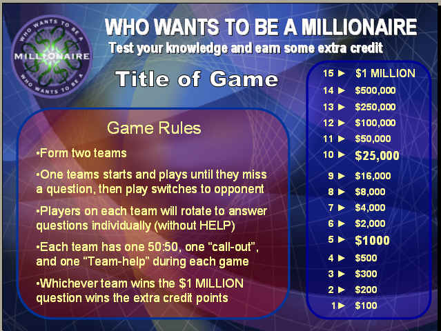 gallery who wants to be a millionaire template psd